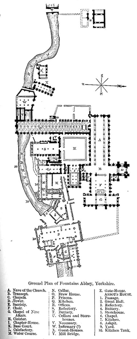 Ground Plan of Fountains Abbey, Yorkshire image