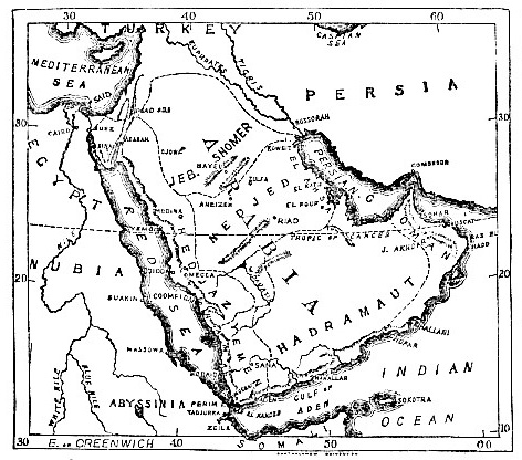 Physical Regions of Arabia map