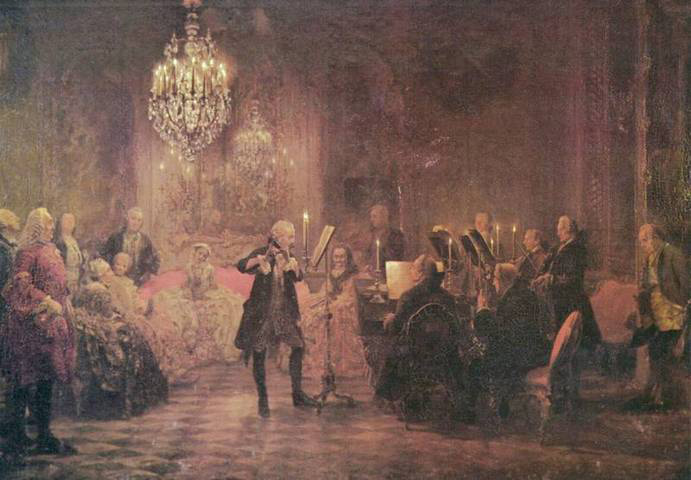 Frederick the Great playing flute (image)