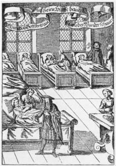 Physician visiting the sick in a hospital, 1682 - image