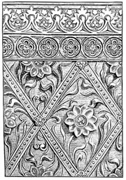 Pattern in stamped and moulded plaster, 15th C. (image)