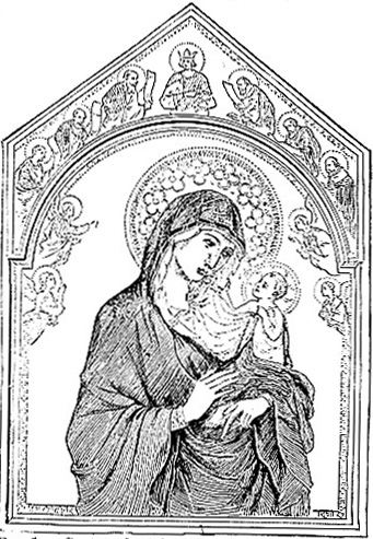 Triptych by Duccio di Buoninsegna (Madonna, Angels, David, Prophets)