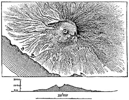 Map of Mt Vesuvius and north-south profile image