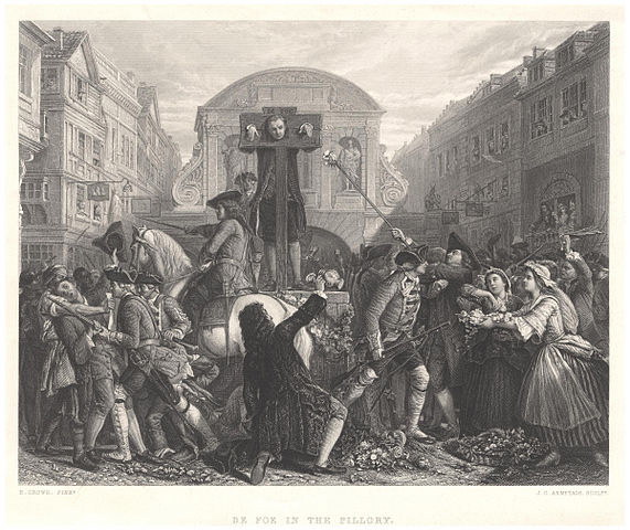 Daniel Defoe in the pillory, 1703 (image)