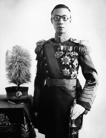 Pu-yi on the day of his coronation as Emperor of Manchukuo (image)