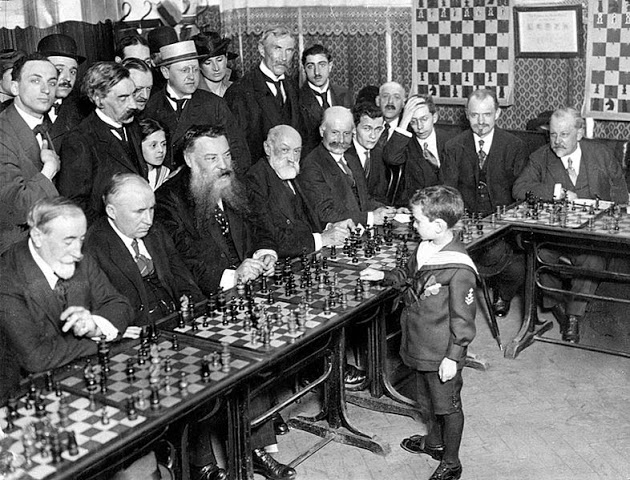 Chess prodigy Samuel Reshevsky, aged 8 defeats grand masters, France, 1920 (image)in France, 1920