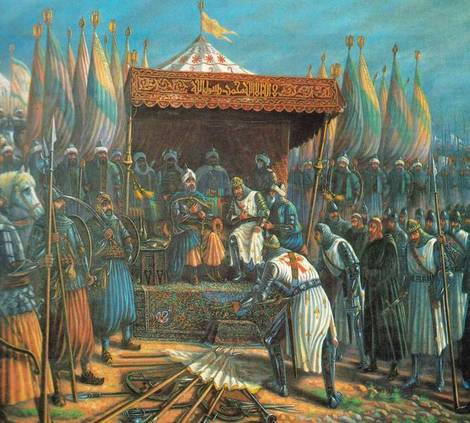 Saladin and Guy at Hattin, 1187 (image)