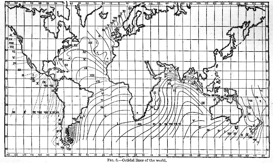 Progress Of The Tide Wave Cotidal Lines Of The World